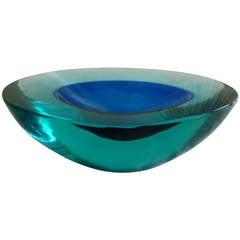 Beautiful Italian Murano Cenedese Sommerso  Chunky Glass Bowl