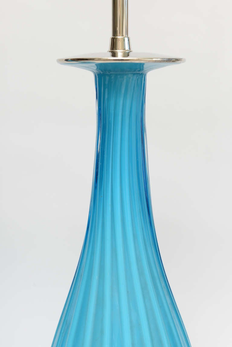 American Pair of Seguso for Marbro Murano Glass Lamps Mid-Century Modern For Sale