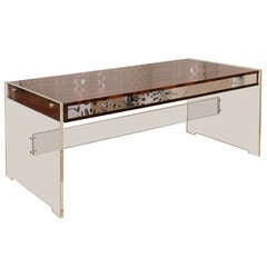 Danish Lucite, Rosewood and Polished Aluminum Desk by Georg Petersen