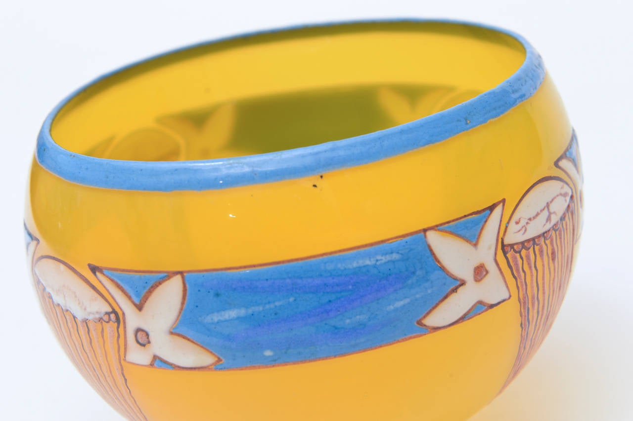 20th Century French Art Deco Handblown Glass Bowl Signed by Andre Delatte / SAT. SALE For Sale