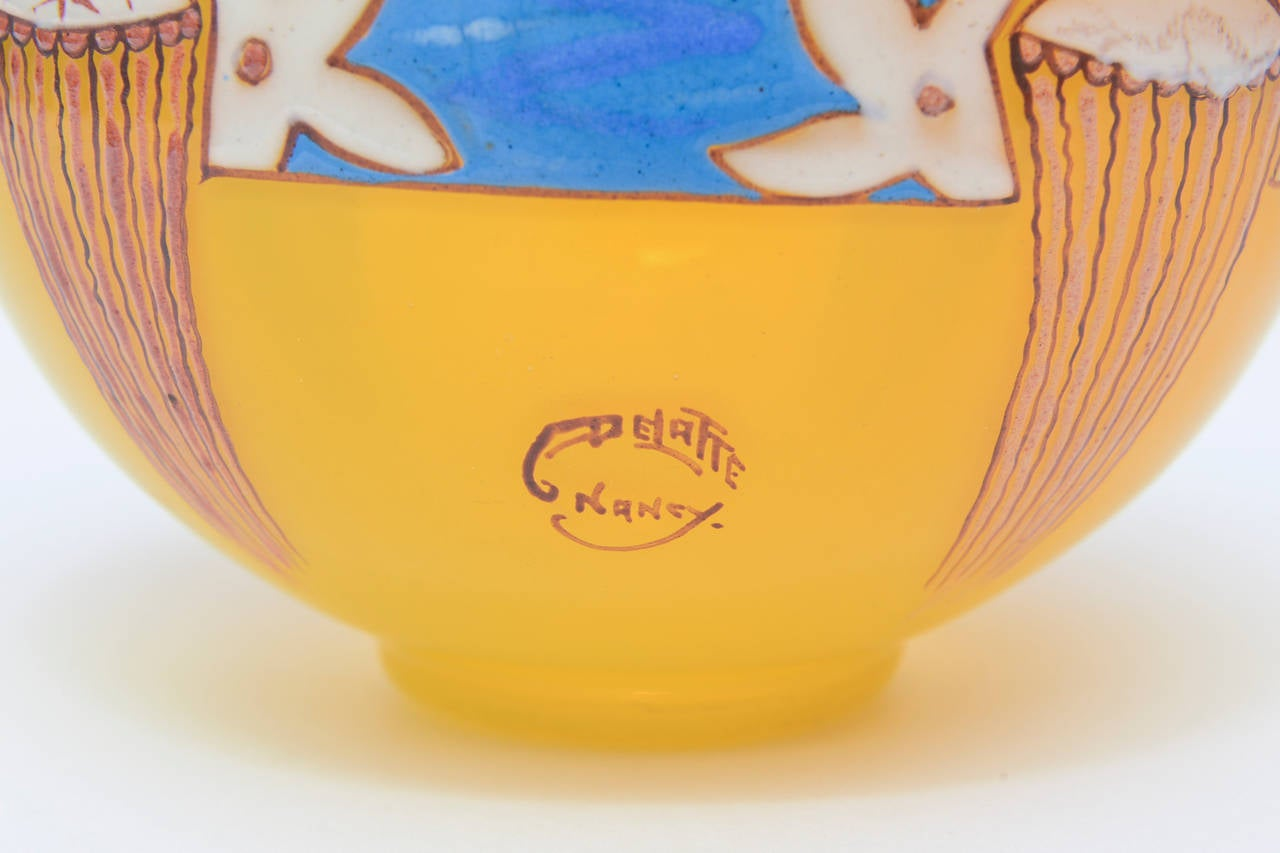 French Art Deco Handblown Glass Bowl Signed by Andre Delatte  For Sale 2