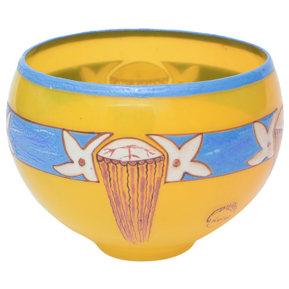 French Art Deco Handblown Glass Bowl Signed by Andre Delatte  For Sale