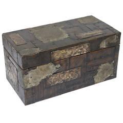 Paul Evans Patchwork Mixed Metals Hinged Brutalist-Like Monumental Box