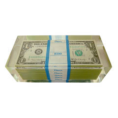 Pop Art $100.00 Dollar Bill Lucite Sculpture