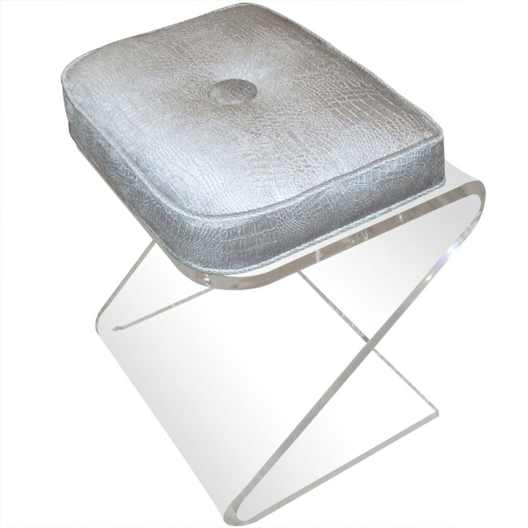 Lucite and upholstered sculptural vanity z stool at 1stdibs - Acrylic vanity chair ...