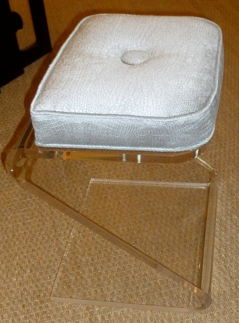 Lucite And Upholstered Sculptural Vanity Z Stool At 1stdibs