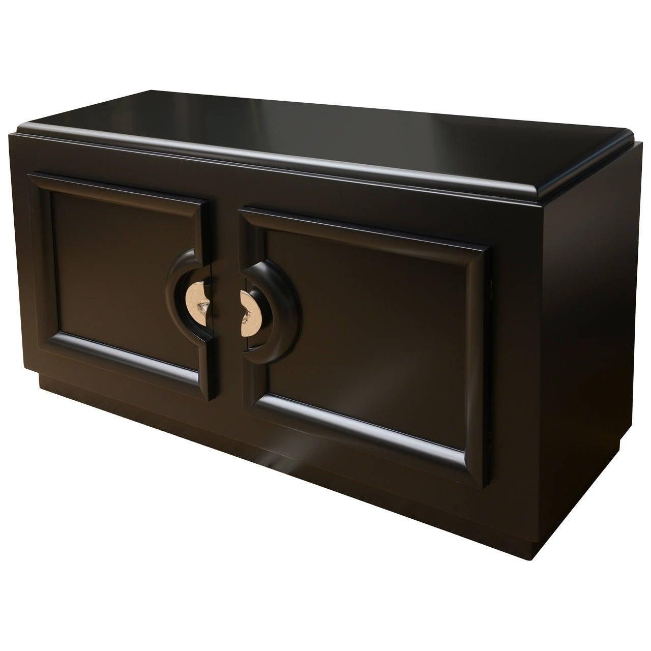 Ebonized Cabinet with Nickel Silver Original Hardware, style of Paul Lazlo