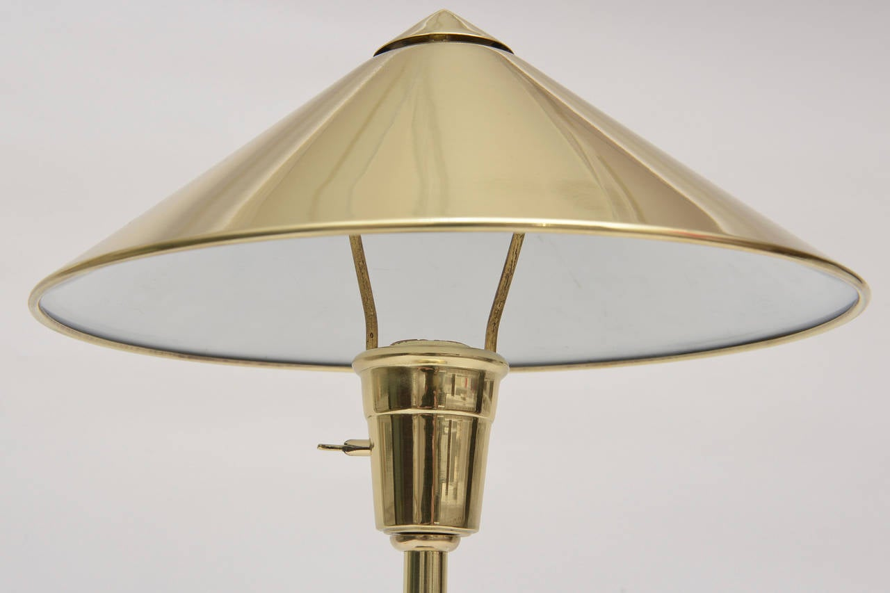 Pepe Mendoza Style Polished Brass, Bronze and Malachite Lamp Mid-Century Modern For Sale 1