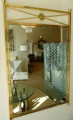 Brass Billy Haines Style Mirror Modernist Vintage
