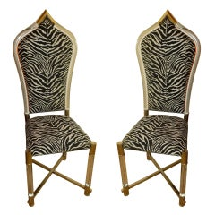 Italian Pair of Antonio Pavia Lucite and Nickel Silver Chairs