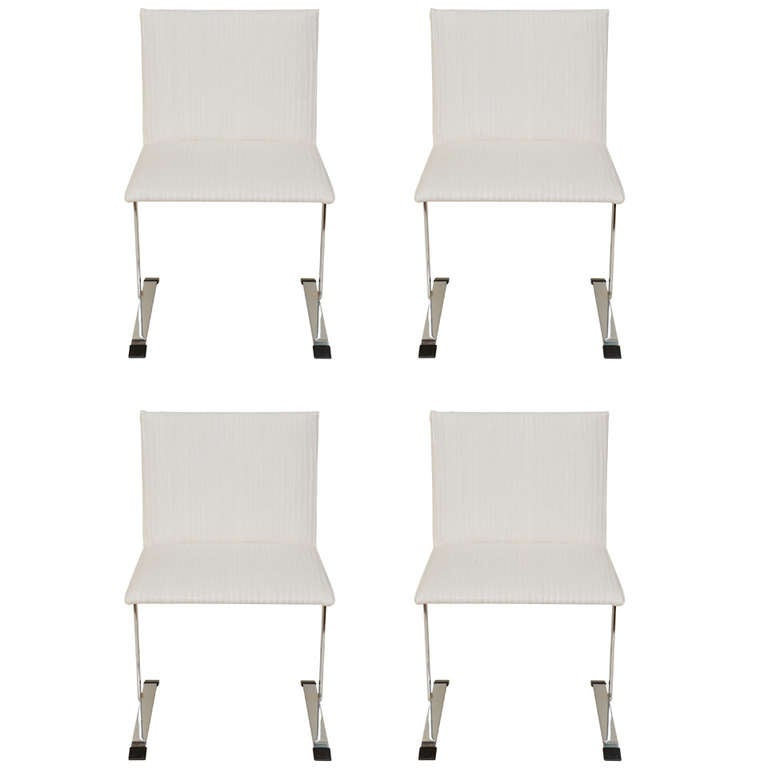 Set of Four Italian Saporiti Stainless Steel & Upholstered Dining Chairs