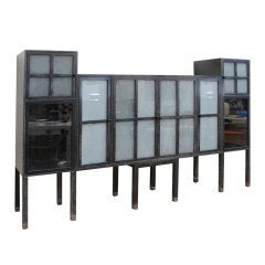 Rare Pace Cerused Ash and Sandblasted Glass Cabinet/ Bar/ Entertainment Center