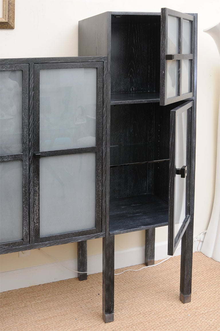 pace cerused ash and sandblasted glass bauhaus cabinet glass and wood wall shelves glass and wood floating shelves