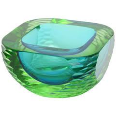 Cenedese Italian Murano Rare Sommerso Monumental Heavy Glass Bowl