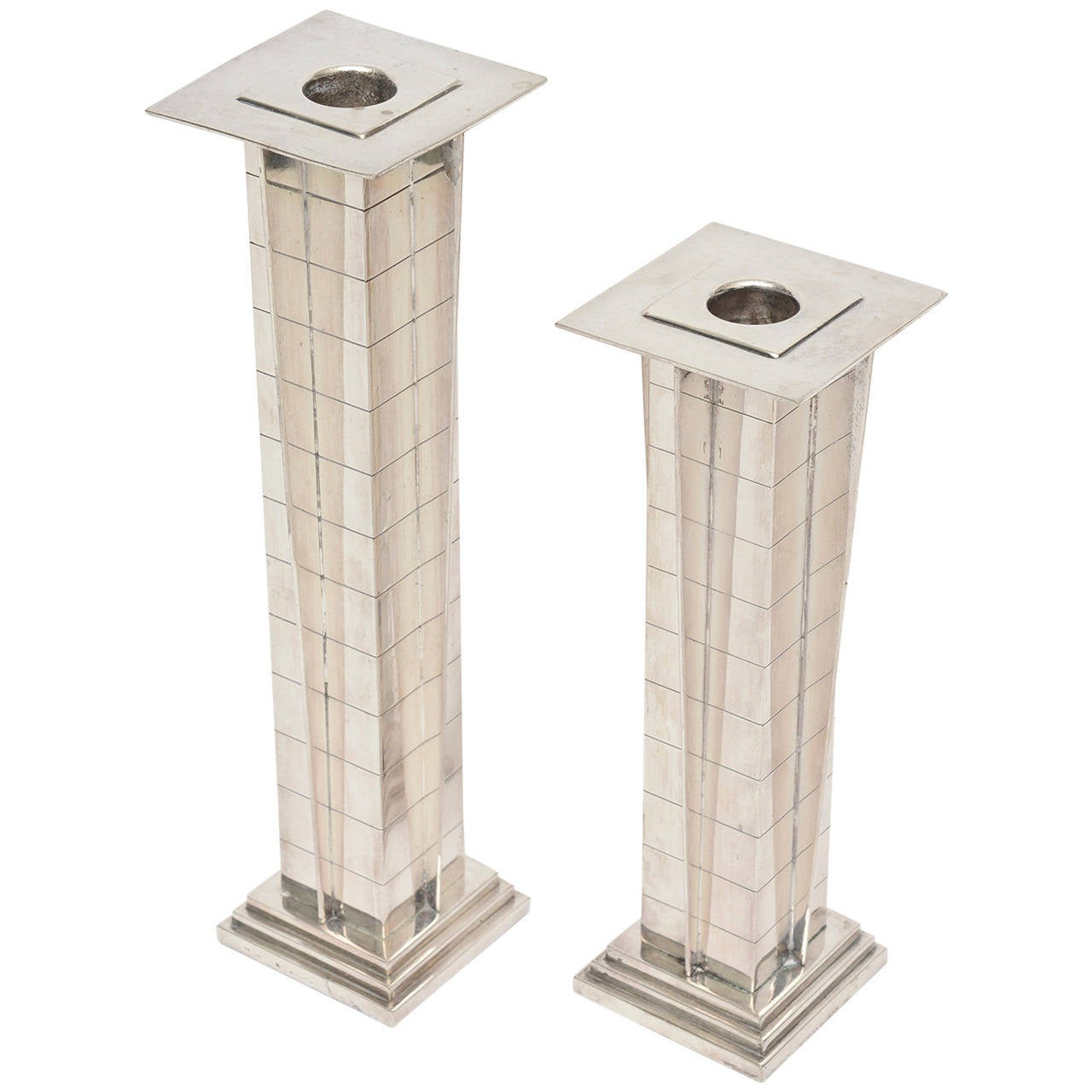 """Amazing Pair of Silver Plate Deco Style """"Skyscraper"""" Candlesticks"""