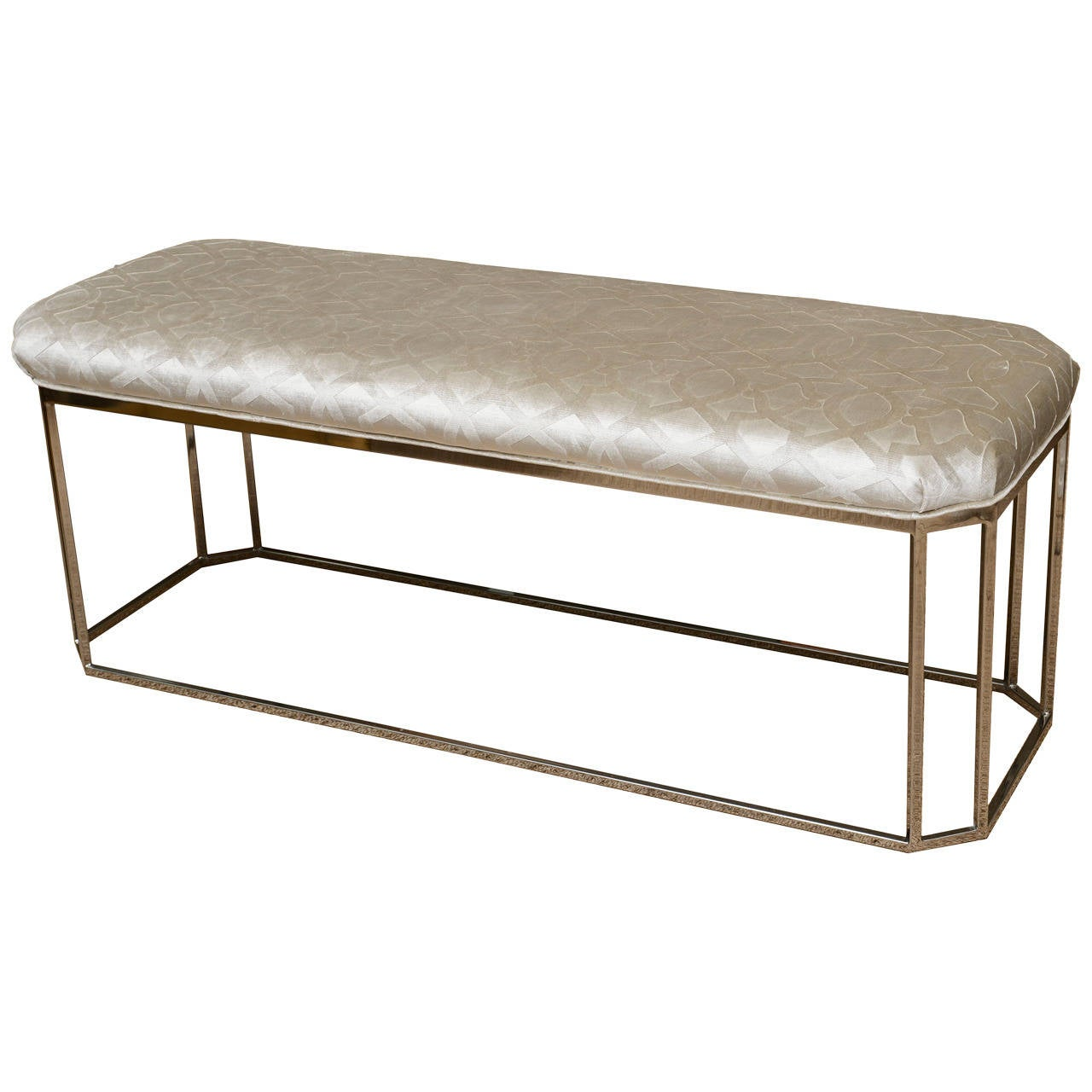 Milo Baughman Vintage Hexagonal Chrome and Newly Upholstered Bench  For Sale