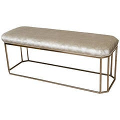 Milo Baughman Vintage Hexagonal Chrome and Newly Upholstered Bench