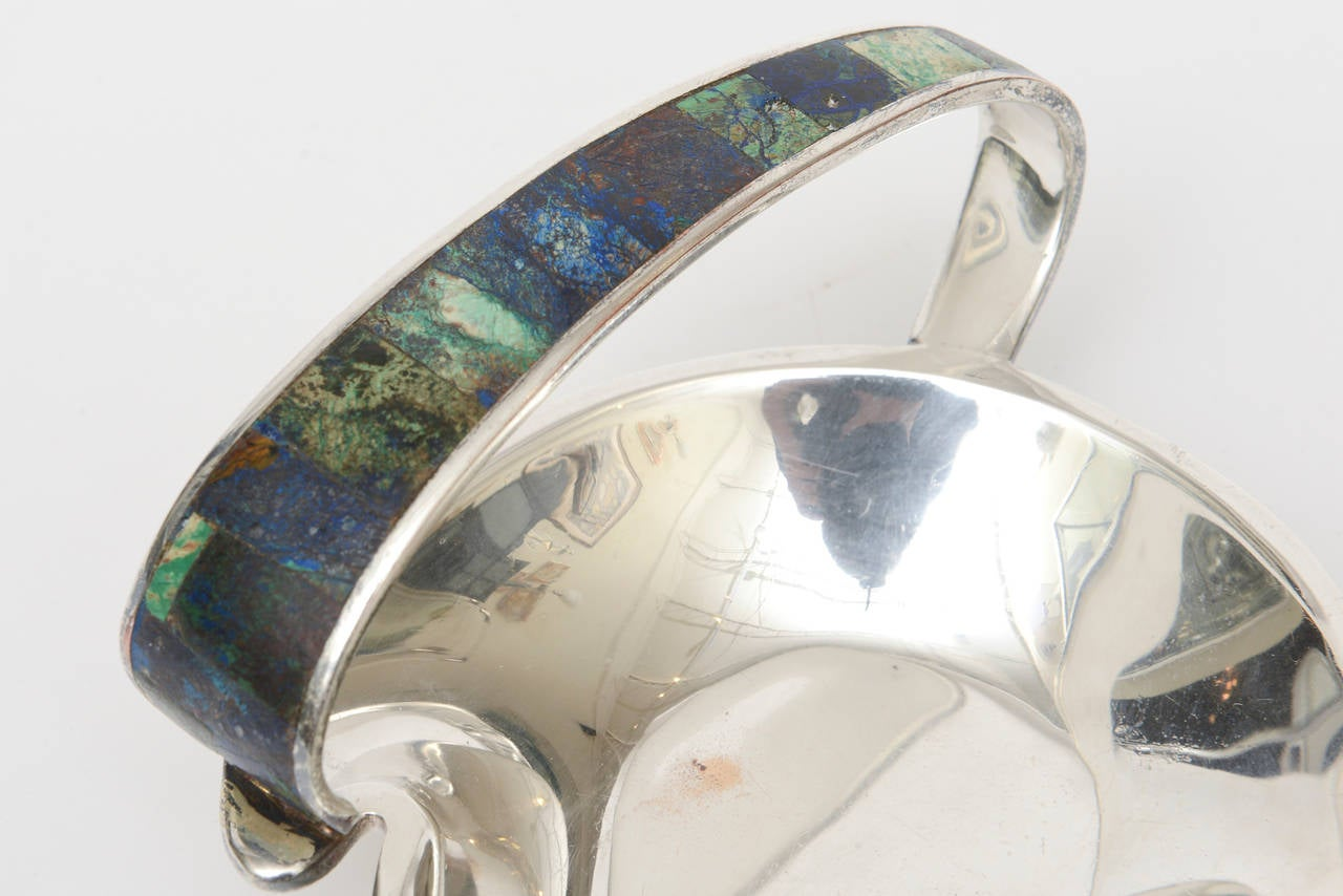 Los Castillo Silver Plate, Lapis, Turquoise and Sodalite Bowl Mid-Century Modern In Good Condition For Sale In North Miami, FL