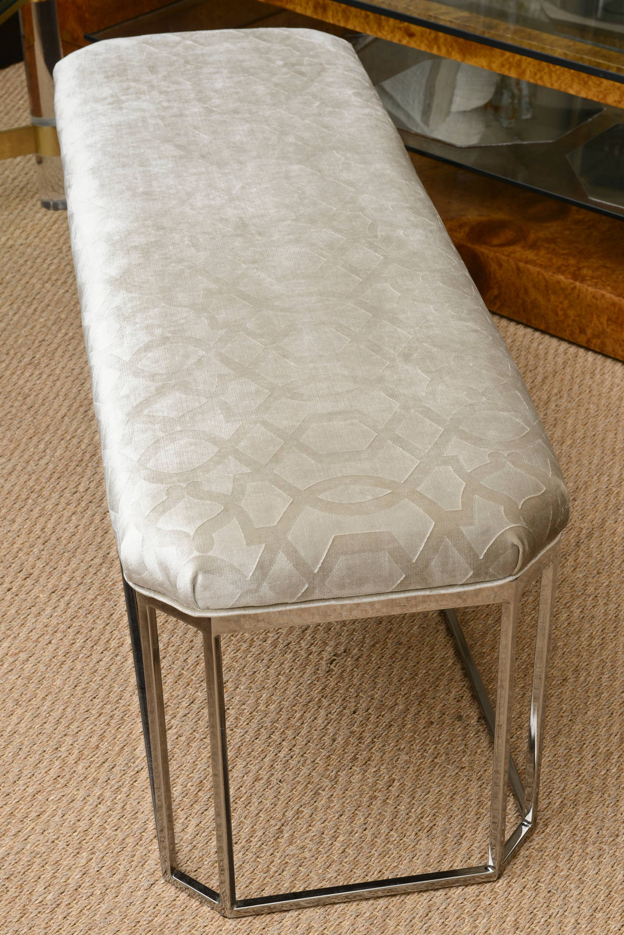 Late 20th Century Milo Baughman Vintage Hexagonal Chrome and Newly Upholstered Bench  For Sale