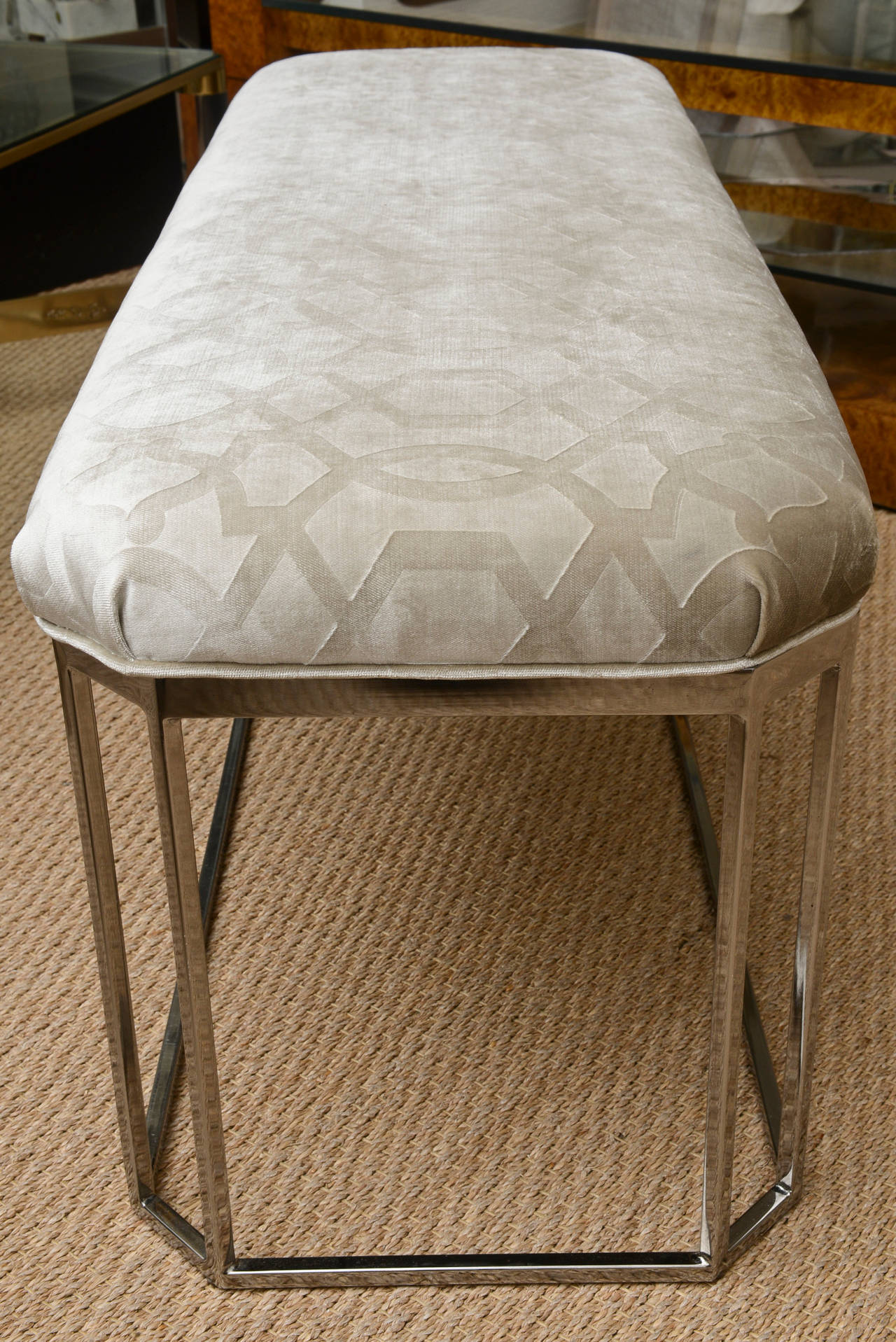 Upholstery Milo Baughman Vintage Hexagonal Chrome and Newly Upholstered Bench  For Sale