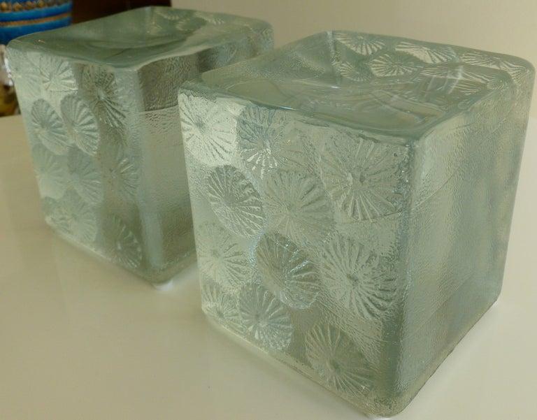 Pair Of Blenko Clear Glass Block Intaglio Pinwheel Bookends Sat Sale At 1stdibs