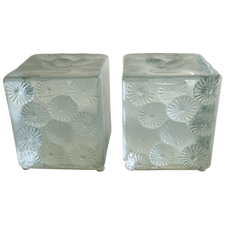 Pair Of Blenko Clear Glass Block Intaglio Pinwheel Bookends Sat Sale