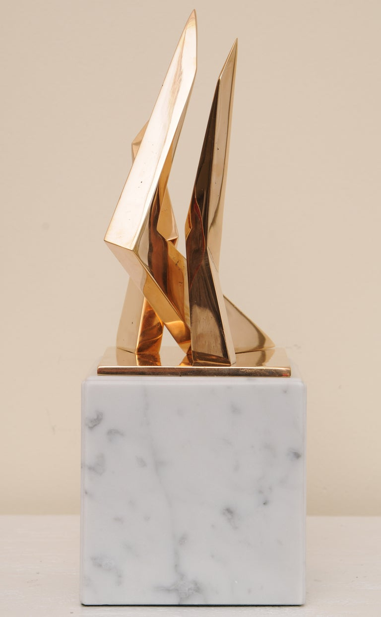 Modern Bronze Architectural Sculpture on Marble Base Signed Boucher French For Sale