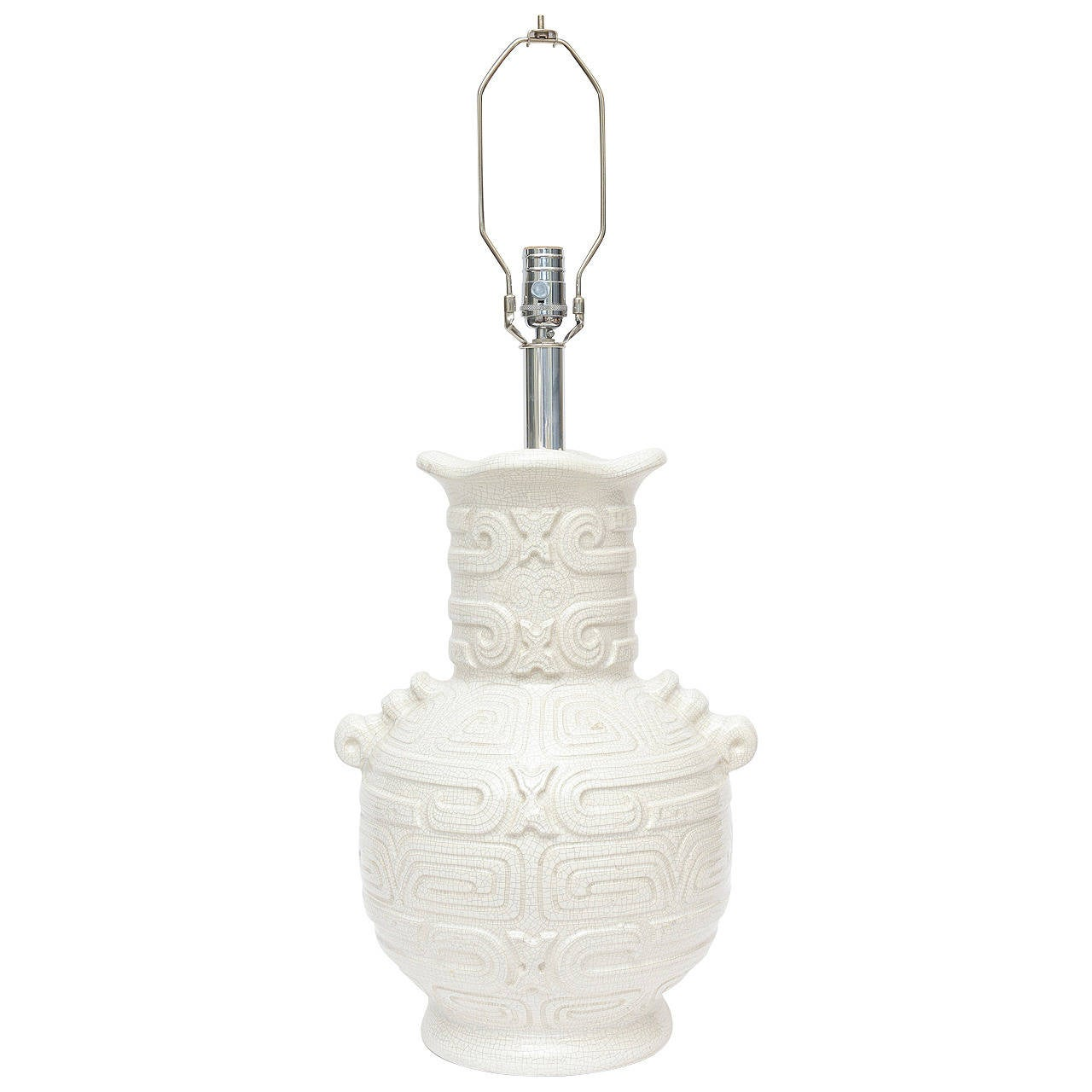 Italian Textural Aztec Inspired White Crackled Glazed Ceramic Lamp