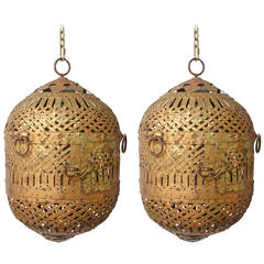 Pair of Gilt Iron Hanging Lanterns