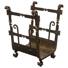 French Handwrought Iron Fireplace Log Bin