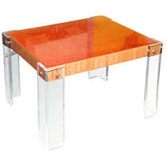 Lucite Side or Entrance Table Vintage Hermes Orange Lucite and Laminate on Wood