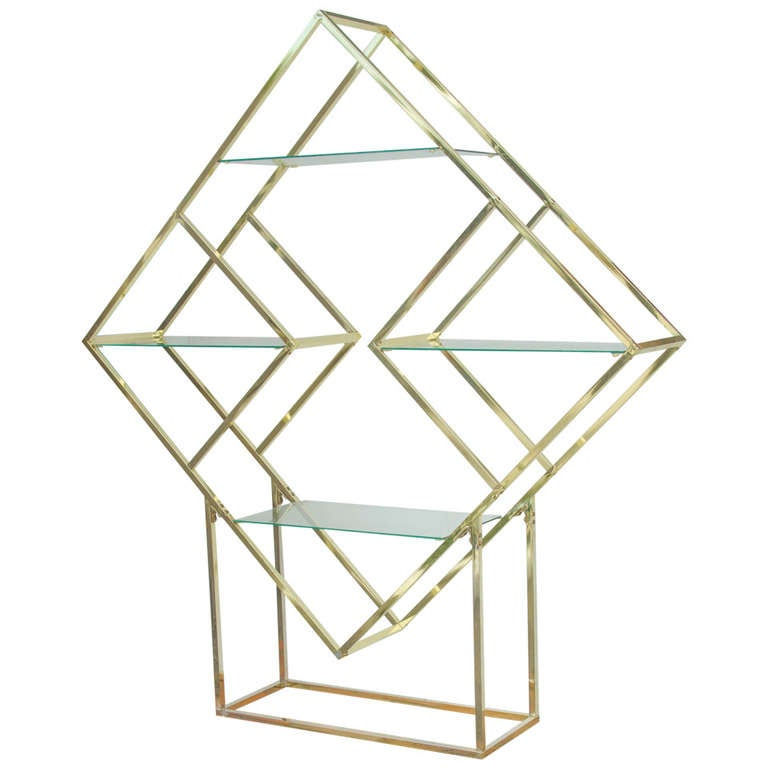 1970 S Brass Diamond Shaped Etagere At 1stdibs