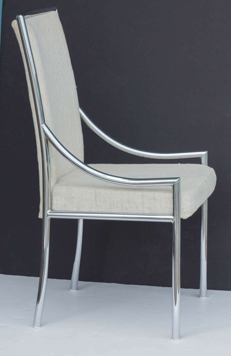Set of Metal Frame Dining Chairs at 1stdibs