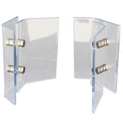 Lucite and Brass Table Bases by Pace
