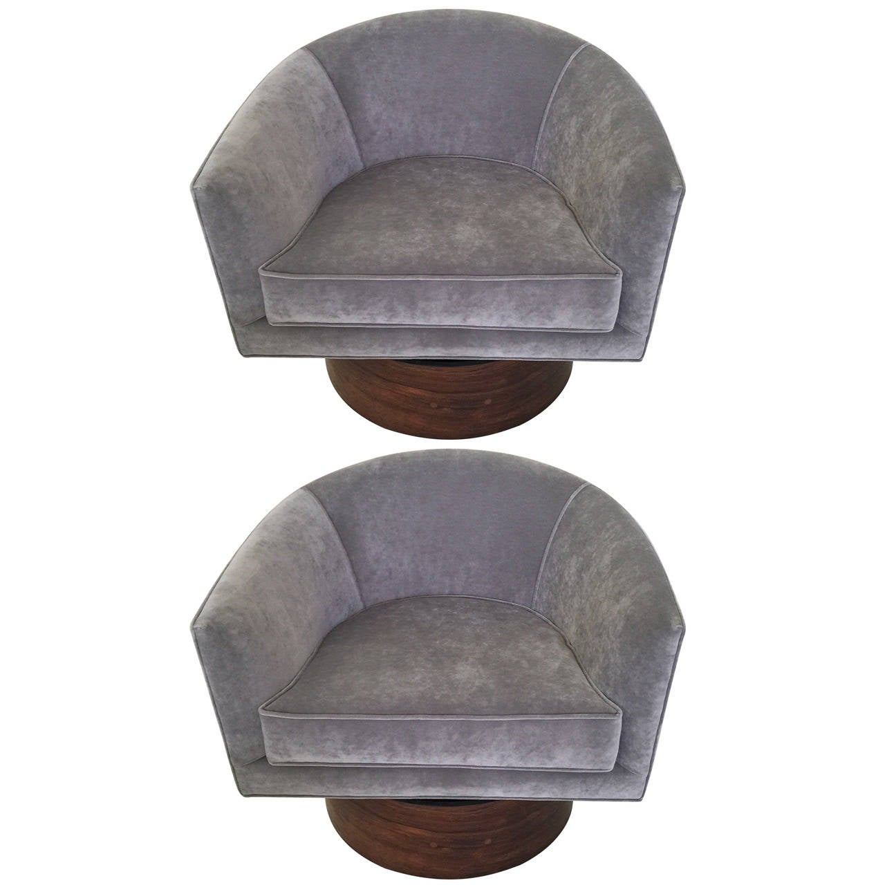Milo Baughman Barrel Swivel Chairs at 1stdibs
