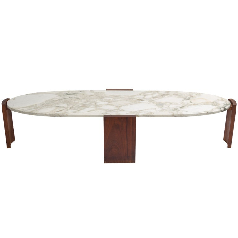 Oval marble top coffee table at 1stdibs for Limestone top coffee table