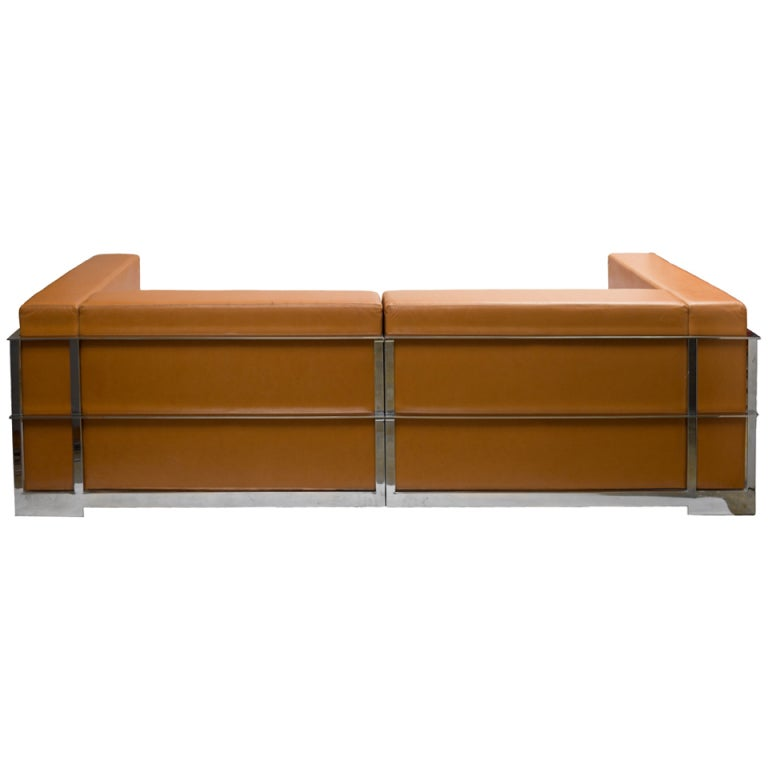 1980u0027s Leather And Steel Frame Sofa 1