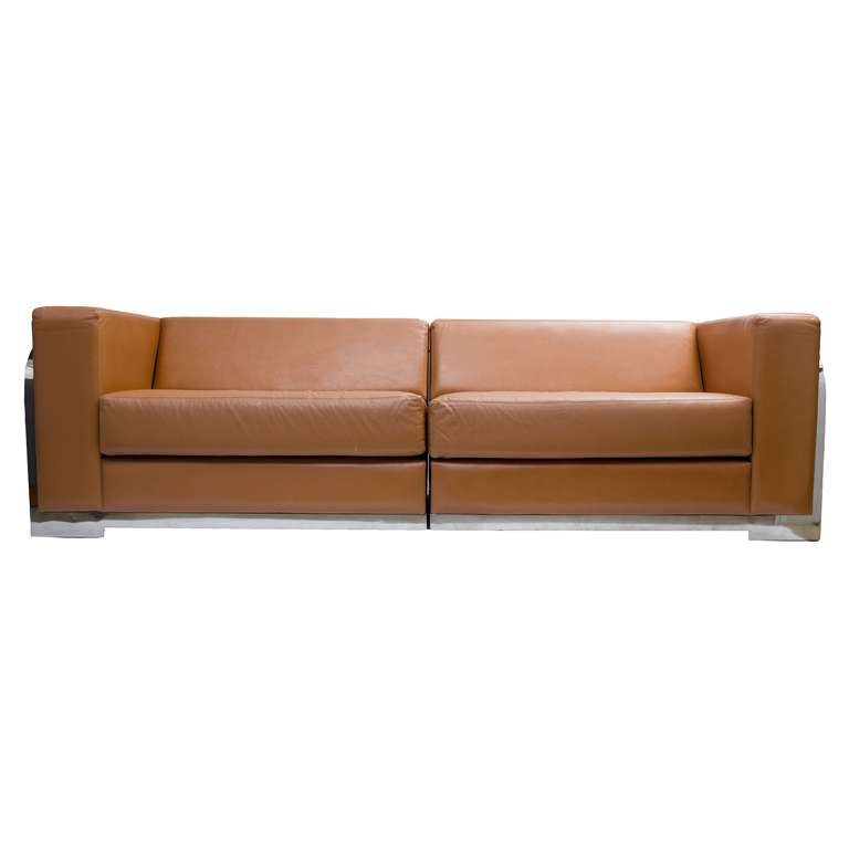 1980 39 s leather and steel frame sofa at 1stdibs Steel frame sofa