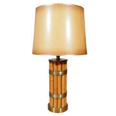 Russel Wright Bamboo and Brass Table Lamp