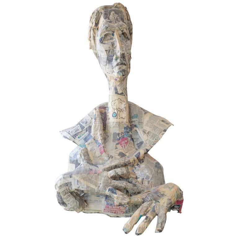 Paper m ch figure sculpture at 1stdibs for Paper mache objects