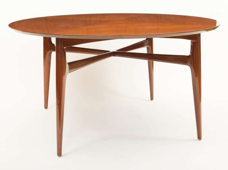 1950 S Walnut Round Tea Table For At 1stdibs