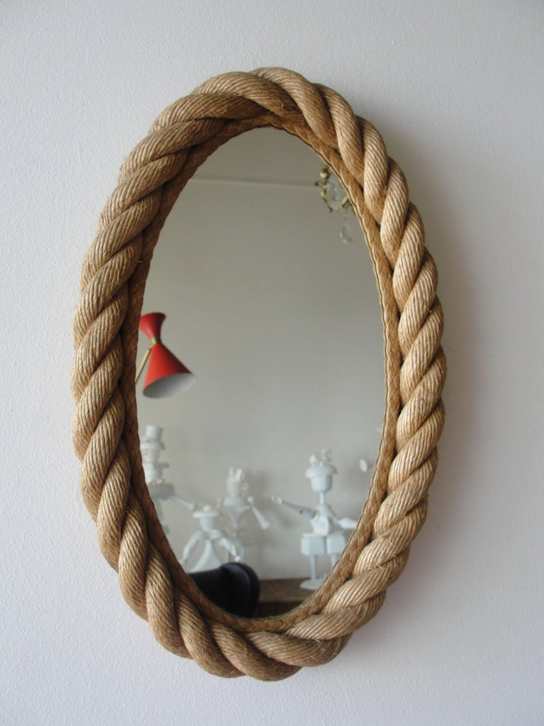 Braided Rope Oval Mirror By Audoux Et Minet At 1stdibs