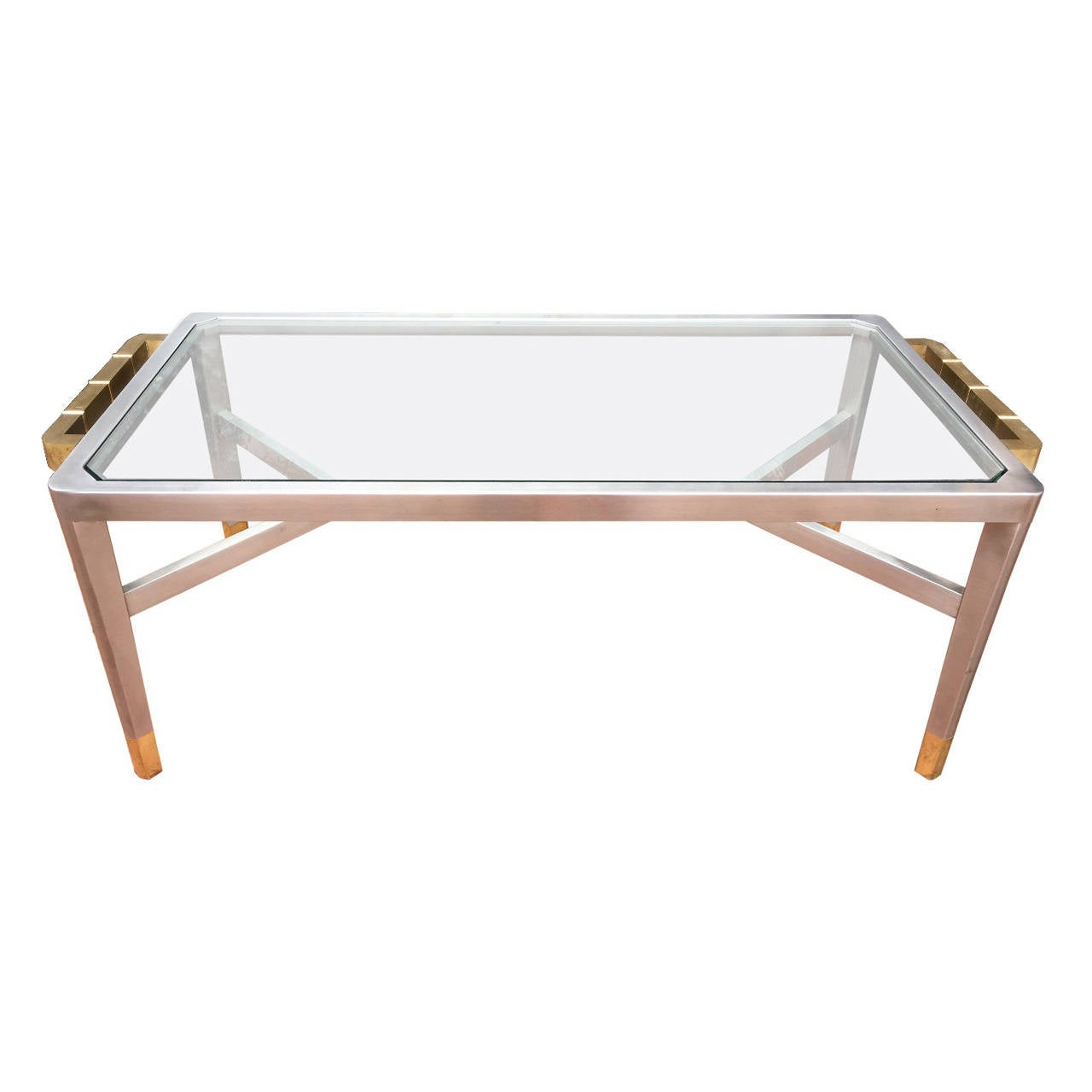 Exceptional Jansen Brushed Steel And Brass Cocktail Table