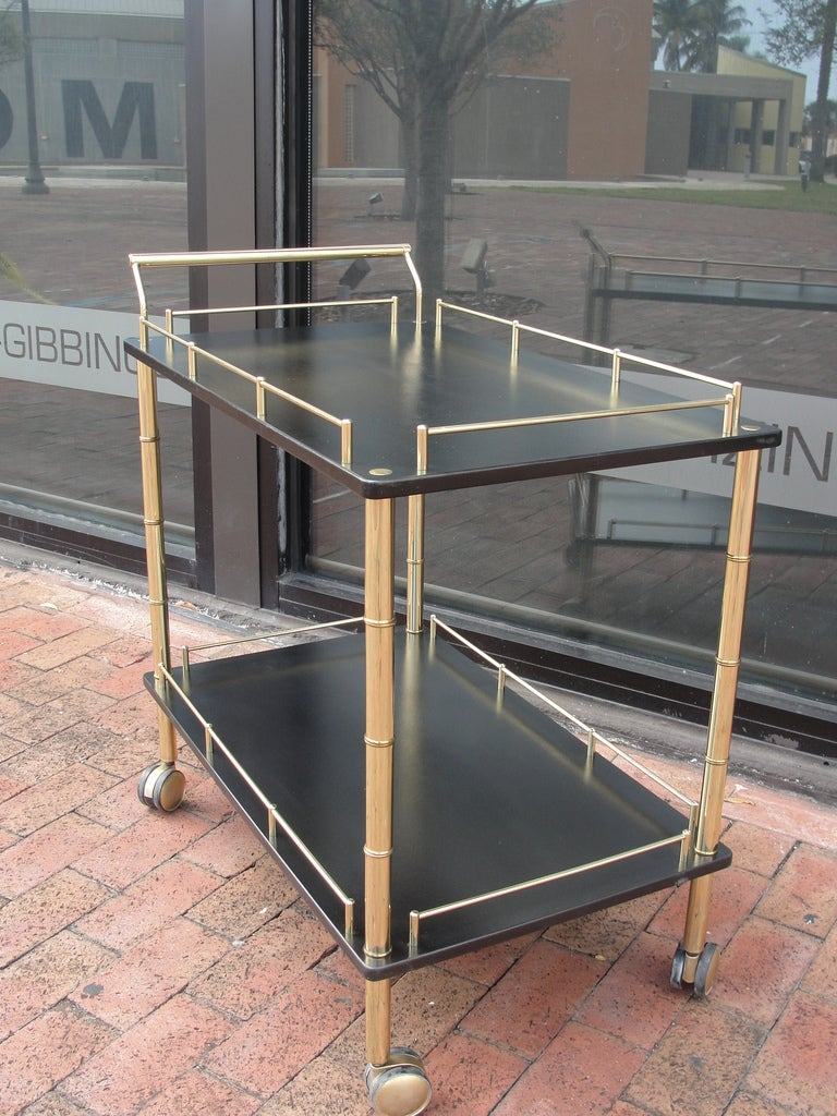 Brass and Faux Bamboo Bar Cart In Good Condition For Sale In East Hampton, NY