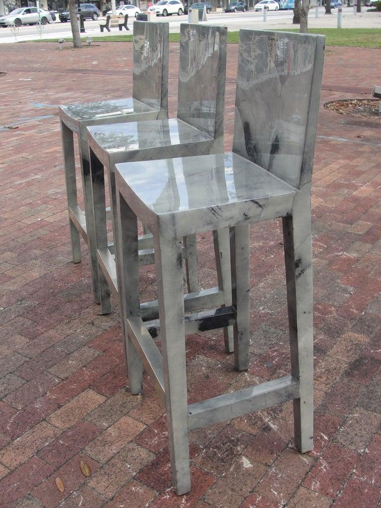 set of five karl springer grey lacquered goatskin bar stools 2