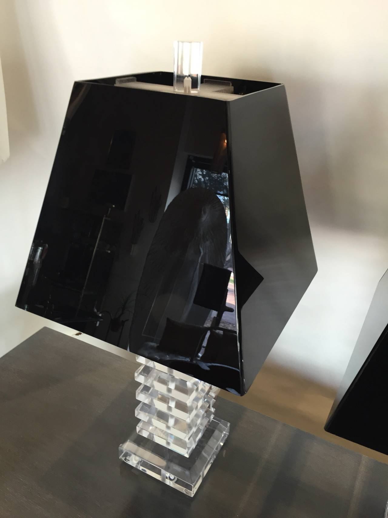 Thick beveled stacks of Lucite are amazingly well preserved, clear and clean. Black Lucite shades not included.