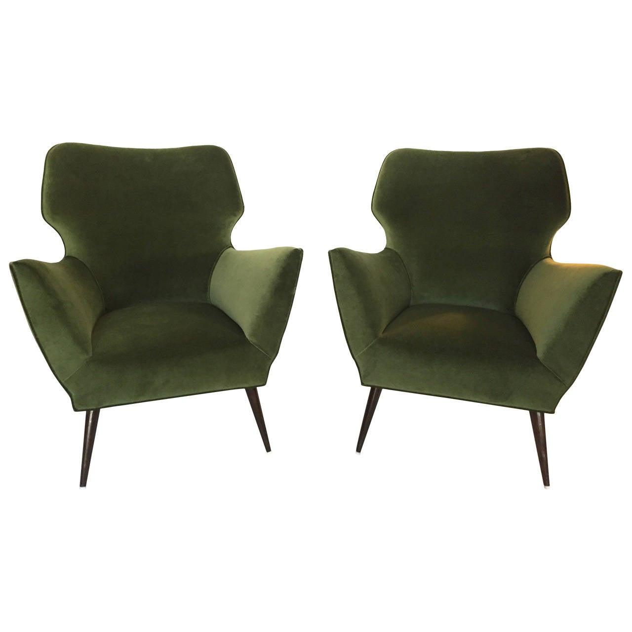 sculptural italian armchairs in quot rolex green quot velvet for