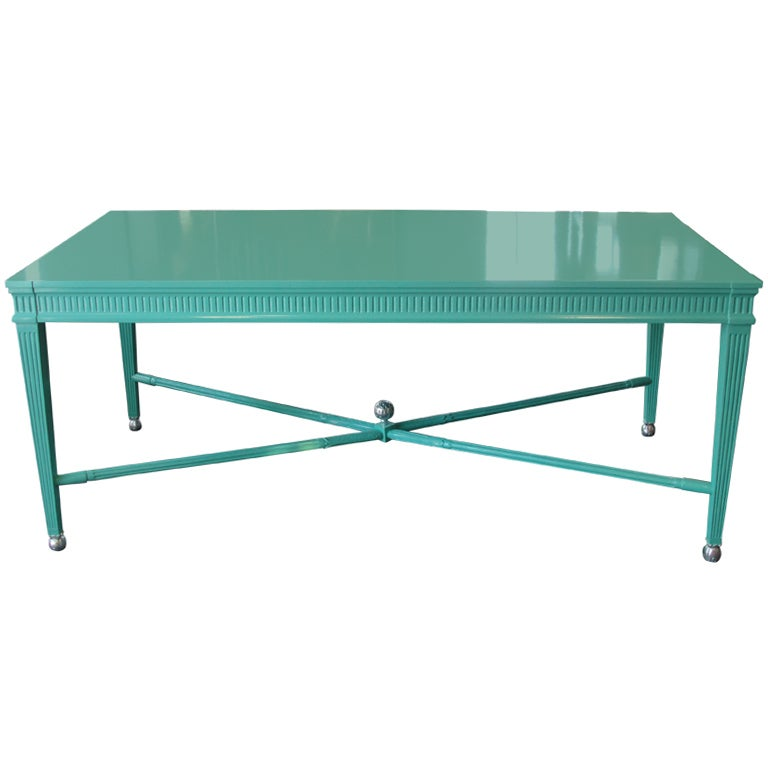 An Aqua Lacquered Louis Style Desk Table At 1stdibs