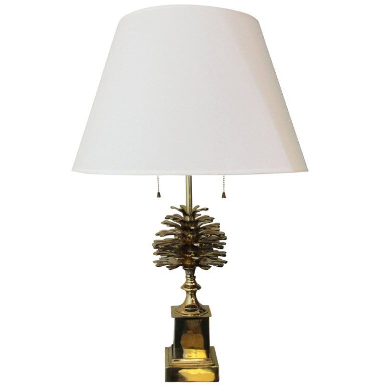 Charming A Brass Pine Cone Table Lamp 1