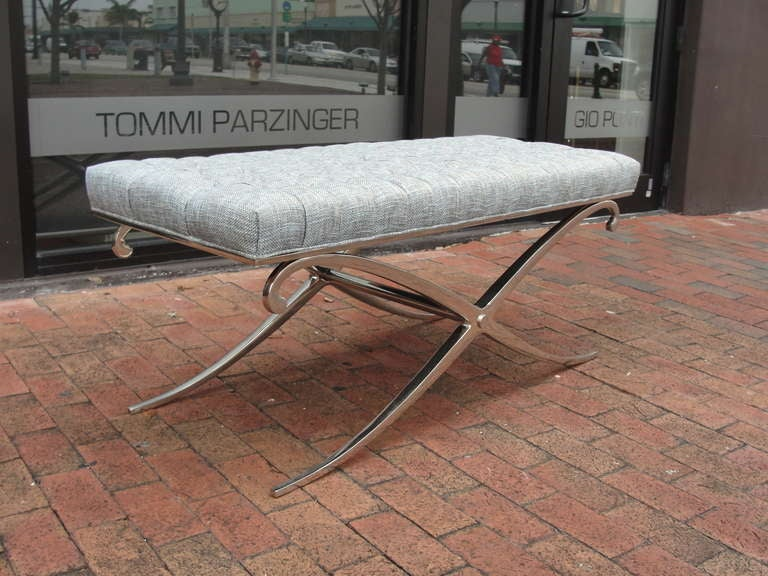 Extra Long X-Shape Steel Bench With Tufted Seat At 1stdibs